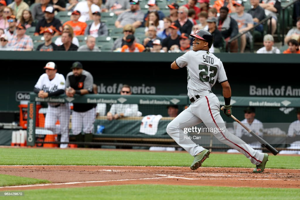 Juan Soto #22 of the Washington Nationals bats against the Baltimore Orioles at Oriole Park at Camden Yards on May 28, 2018 in Baltimore, Maryland. MLB players across the league are wearing special uniforms to commemorate Memorial Day.