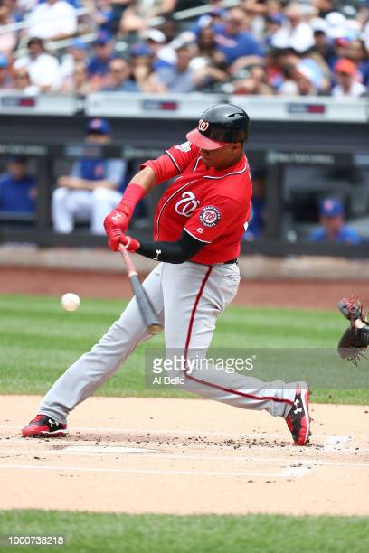 Juan Soto of the Washington Nationals bats against the New York Mets during their game at Citi Field on July 15 2018 in New York City