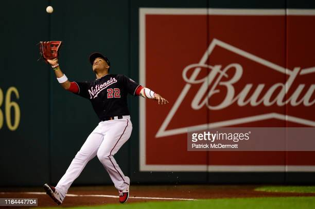 Juan Soto of the Washington Nationals catches a foul ball hit by Renato Nunez of the Baltimore Orioles in the sixth inning during the interleague...
