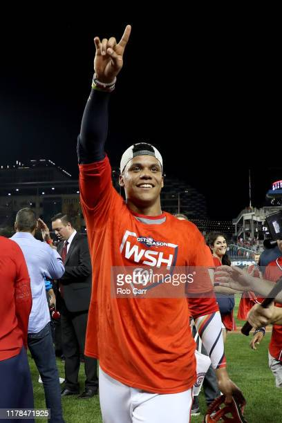 Juan Soto of the Washington Nationals celebrates after defeating the Milwaukee Brewers with a score 4 to 3 in the National League Wild Card game at...