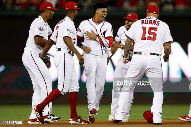 Juan Soto of the Washington Nationals celebrates after defeating the Nationals defeated the Milwaukee Brewers 4 to 3 in the National League Wild Card...