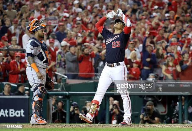 Juan Soto of the Washington Nationals celebrates after he hits a solo home run against the Houston Astros during the seventh inning in Game Five of...