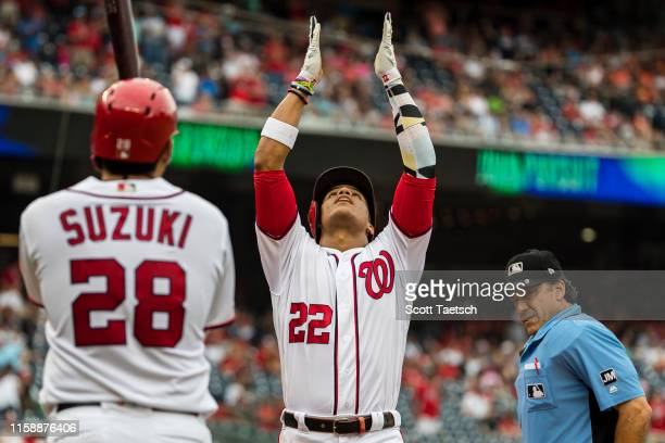 Juan Soto of the Washington Nationals celebrates after hitting a home run against the Atlanta Braves during the second inning at Nationals Park on...