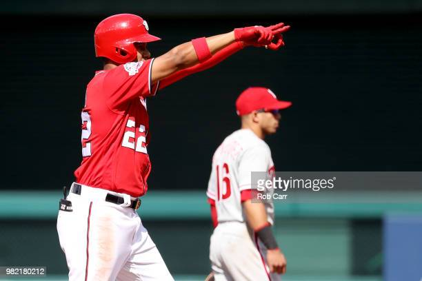 Pitcher Seranthony Dominguez of the Philadelphia Phillies throws to a Washington Nationals batter in the ninth inning at Nationals Park on June 23...