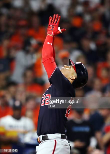 Juan Soto of the Washington Nationals celebrates after hitting a solo home run against the Houston Astros during the fifth inning in Game Six of the...