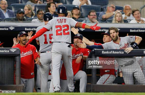 Juan Soto of the Washington Nationals celebrates his fourth inning three run home run against the New York Yankees with his teammates at the dugout...