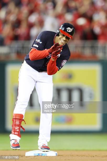 Juan Soto of the Washington Nationals celebrates his RBI double in the first inning against the St Louis Cardinals during game four of the National...