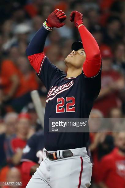 Juan Soto of the Washington Nationals celebrates his solo home run against the Houston Astros during the fourth inning in Game One of the 2019 World...