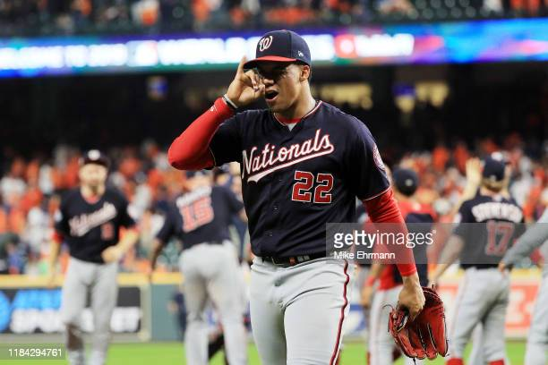 Juan Soto of the Washington Nationals celebrates his teams 72 win against the Houston Astros in Game Six of the 2019 World Series at Minute Maid Park...