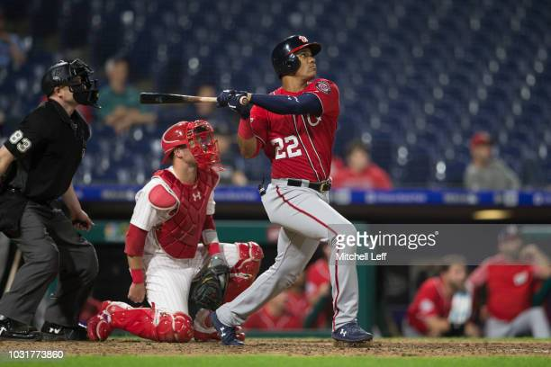 Juan Soto of the Washington Nationals hits a solo home run in the top of the tenth inning against the Philadelphia Phillies in game 2 of the...