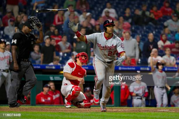 Juan Soto of the Washington Nationals hits a three run home run in the top of the tenth inning against the Philadelphia Phillies at Citizens Bank...