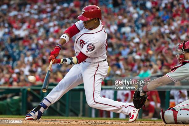Juan Soto of the Washington Nationals hits an RBI against the Philadelphia Phillies during the first inning at Nationals Park on June 20 2019 in...