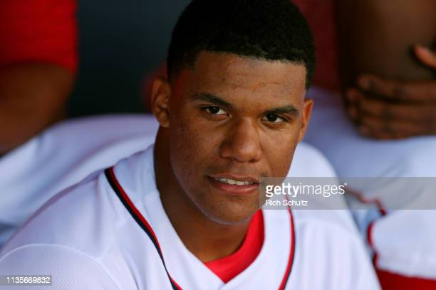 Juan Soto of the Washington Nationals in action during a spring training baseball game against the Atlanta Braves at Fitteam Ballpark of the Palm...