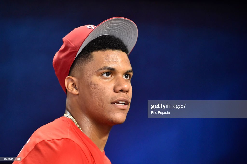 Juan Soto #22 of the Washington Nationals in the dugout before the start of the game against the Miami Marlins at Marlins Park on July 27, 2018 in Miami, Florida.