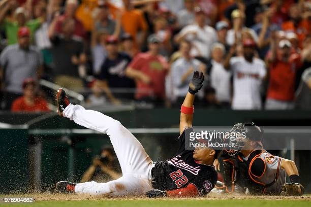 Wilmer Difo of the Washington Nationals reacts after being tagged out in a rundown in the seventh inning against the Baltimore Orioles at Nationals...