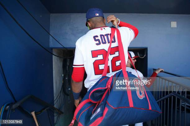 Juan Soto of the Washington Nationals leaves the dugout against the New York Yankees in the bottom of the fourth inning of a Grapefruit League spring...