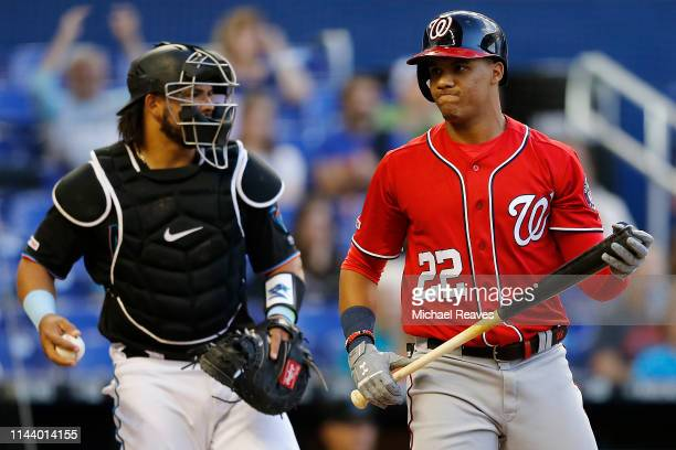Juan Soto of the Washington Nationals reacts after striking out in the third inning against the Miami Marlins at Marlins Park on April 20, 2019 in...