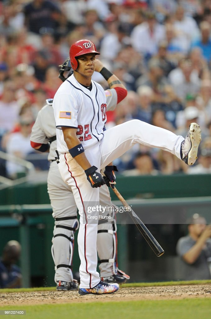 Juan Soto #22 of the Washington Nationals reacts after striking out in the sixth inning against the Boston Red Sox at Nationals Park on July 3, 2018 in Washington, DC.