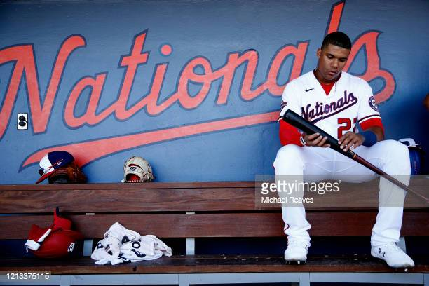 Juan Soto of the Washington Nationals reacts in the dugout against the New York Yankees in the bottom of the fourth inning of a Grapefruit League...