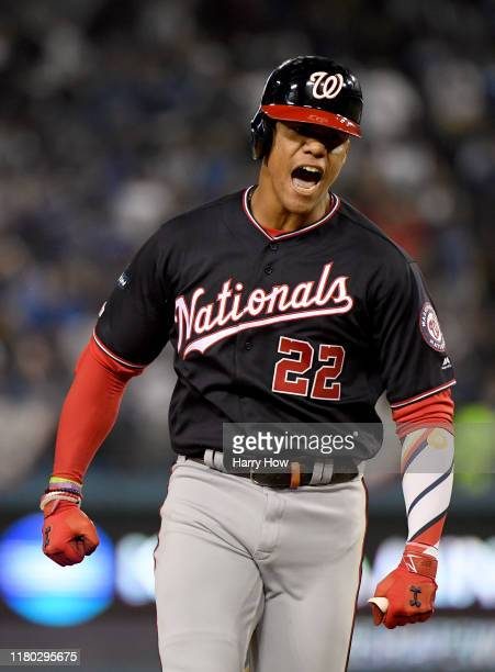 Juan Soto of the Washington Nationals reacts to his solo homerun for a 33 tie with the Los Angeles Dodgers during the eighth inning at Dodger Stadium...
