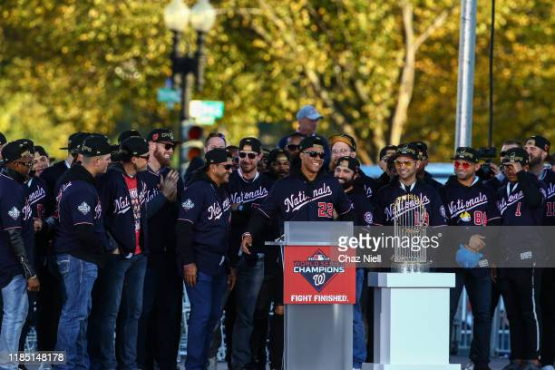 Juan Soto of the Washington Nationals speaks at the podium during the World series victory celebration parade on November 02 2019 in Washington DC