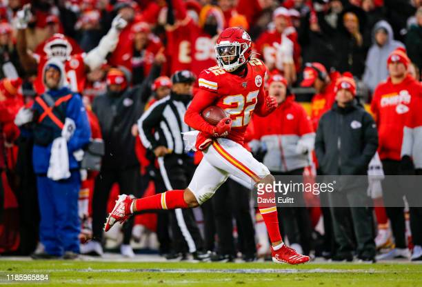 Juan Thornhill of the Kansas City Chiefs returns a 46-yard interception for a touchdown in the second quarter against the Oakland Raiders at...