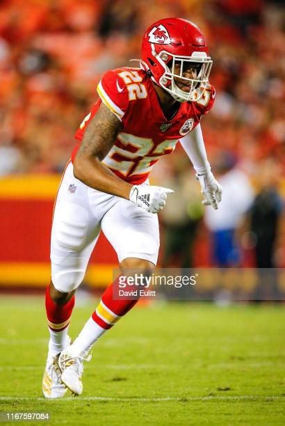 Juan Thornhill of the Kansas City Chiefs runs towards the ball during game action against the Cincinnati Bengals at Arrowhead Stadium on August 10,...