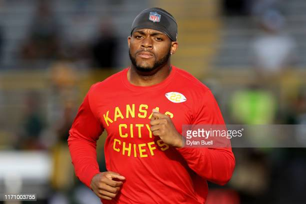 Juan Thornhill of the Kansas City Chiefs warms up before the preseason game against the Green Bay Packers at Lambeau Field on August 29, 2019 in...