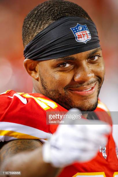 Juan Thornhill of the Kansas City Chiefs watches game action from the sidelines against the Cincinnati Bengals at Arrowhead Stadium on August 10,...