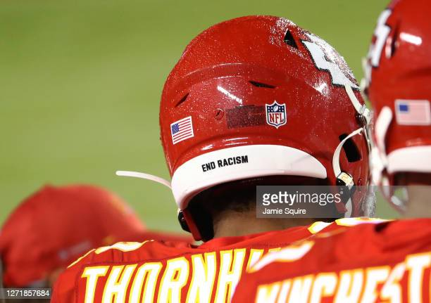 Juan Thornhill of the Kansas City Chiefs wears End Racism on the back of his helmet during the fourth quarter against the Houston Texans at Arrowhead...