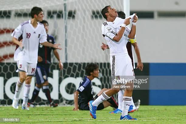Juan Tineo of Venezuela reacts during the FIFA U-17 World Cup UAE 2013 Group D match between Japan and Venezuela at Sharjah Stadium on October 21,...