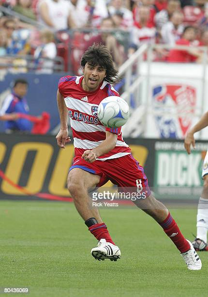 Juan Toja of FC Dallas is seen during the match between Chivas USA and FC Dallas at Pizza Hut Park on March 30 2008 at Frisco Texas