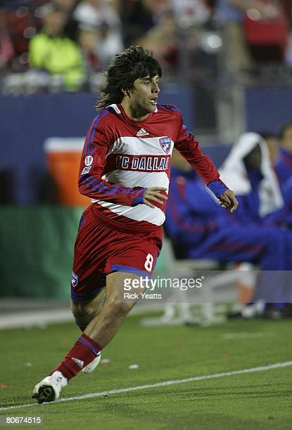 Juan Toja of FC Dallas pursues the play against the New York Red Bulls on April 12, 2008 at Pizza Hut Park in Frisco, Texas.
