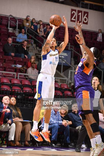 Juan Toscano Anderson of the Santa Cruz Warriors shoots against Ahmed Hill of the Northern Arizona Suns on December 15 at the Findlay Toyota Center...
