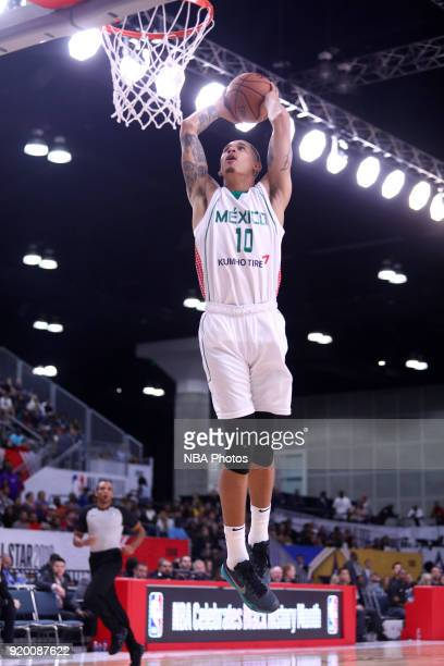 Juan Toscano goes up for a dunk against the USA Team during the 2018 NBA G League International Challenge presented by Kumho Tire as a part of 2018...