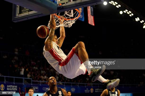 Juan Toscano of Mexico goes for a dunk during the match between Mexico and USA as part of the FIBA World Cup China 2019 Qualifiers at Gimnasio Juan...
