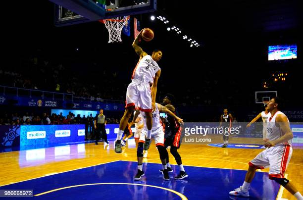 Juan Toscano of Mexico goes to the basket during the match between Mexico and USA as part of the FIBA World Cup China 2019 Qualifiers at Gimnasio...