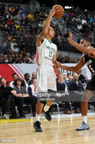 Juan Toscano of the Mexico National Team passes the ball against the USA Team during the 2018 NBA G League International Challenge presented by Kumho...