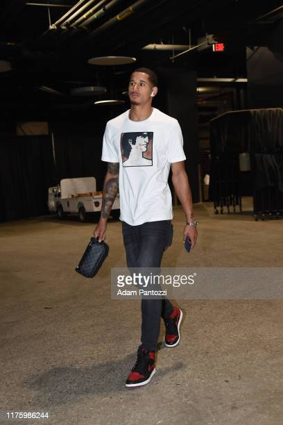 Juan ToscanoAnderson of the Golden State Warriors arrives before a preseason game against the Los Angeles Lakers on October 14 2019 at STAPLES Center...