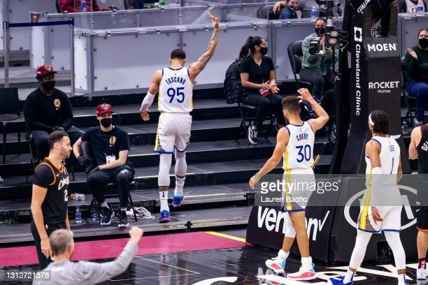 Juan Toscano-Anderson of the Golden State Warriors celebrates after a basket during the first quarter against the Golden State Warriors at Rocket...