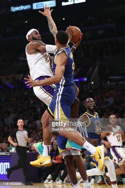 Juan ToscanoAnderson of the Golden State Warriors defends against LeBron James of the Los Angeles Lakers during the second half of a game at Staples...