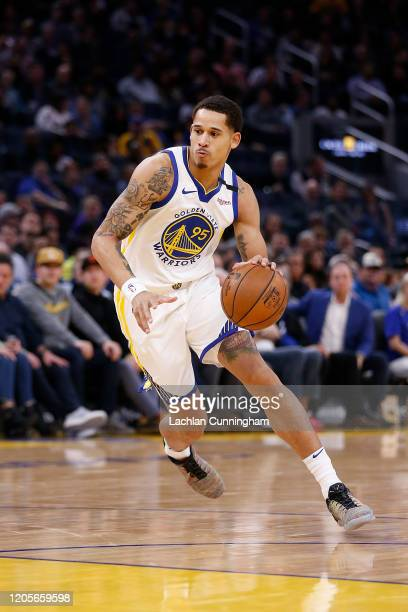 Juan ToscanoAnderson of the Golden State Warriors drives to the basket in the second half against the Miami Heat at Chase Center on February 10 2020...
