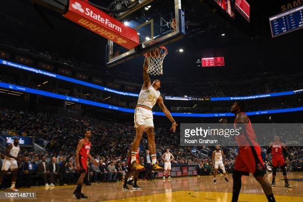 Juan ToscanoAnderson of the Golden State Warriors dunks the ball against the Houston Rockets on February 20 2020 at Chase Center in San Francisco...