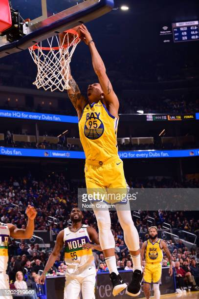 Juan ToscanoAnderson of the Golden State Warriors dunks the ball against the New Orleans Pelicans on February 23 2020 at Chase Center in San...
