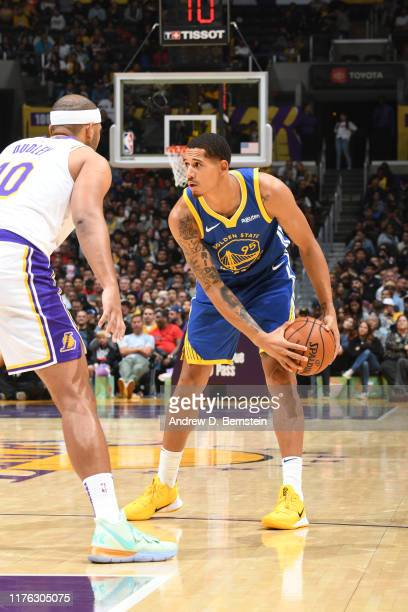 Juan ToscanoAnderson of the Golden State Warriors handles the ball against the Los Angeles Lakers during a preseason game on October 16 2019 at...