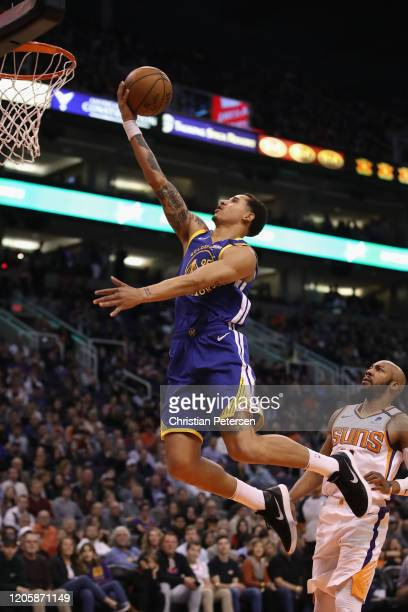 Juan ToscanoAnderson of the Golden State Warriors lays up a shot against the Phoenix Suns during the first half of the NBA game at Talking Stick...