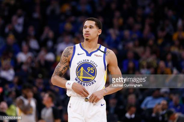 Juan ToscanoAnderson of the Golden State Warriors looks on in the second half against the Miami Heat at Chase Center on February 10 2020 in San...