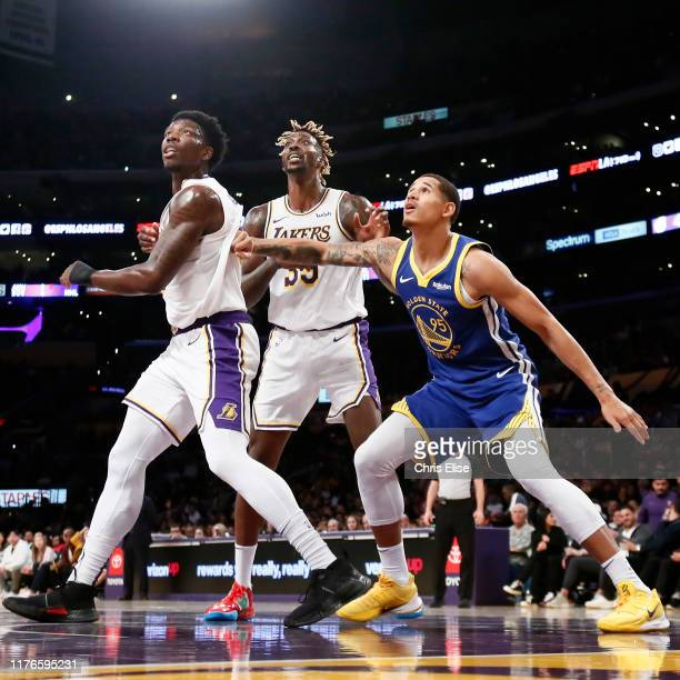 Juan ToscanoAnderson of the Golden State Warriors plays defense against Los Angeles Lakers during a preseason game on October 14 2019 at STAPLES...