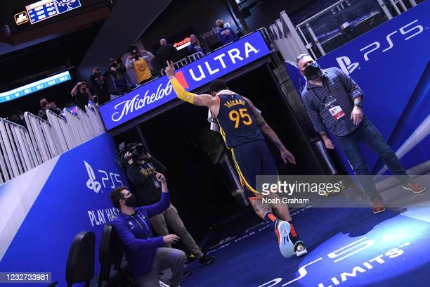 Juan Toscano-Anderson of the Golden State Warriors salutes fans after the game against the Oklahoma City Thunder on May 6, 2021 at Chase Center in...