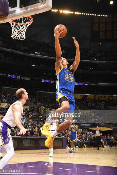 Juan ToscanoAnderson of the Golden State Warriors shoots the ball against the Los Angeles Lakers during a preseason game on October 16 2019 at...